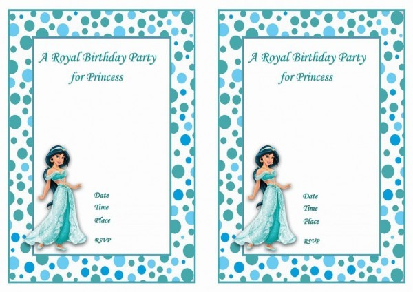 Princess Jasmine Free Printable Birthday Party Invitations