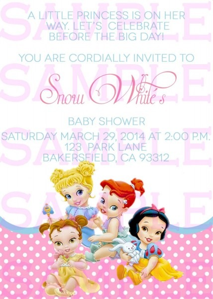 Baby Shower Invitation Princess Disney Babies Girl Announcement