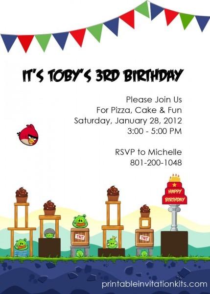 Free Angry Birds Birthday Party Invitation