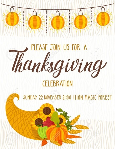 Vector Thanksgiving Invitation Template  Invite For Harvest Dinner