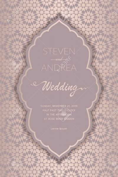 Wedding Card Or Invitation With Morocco Ornament Background