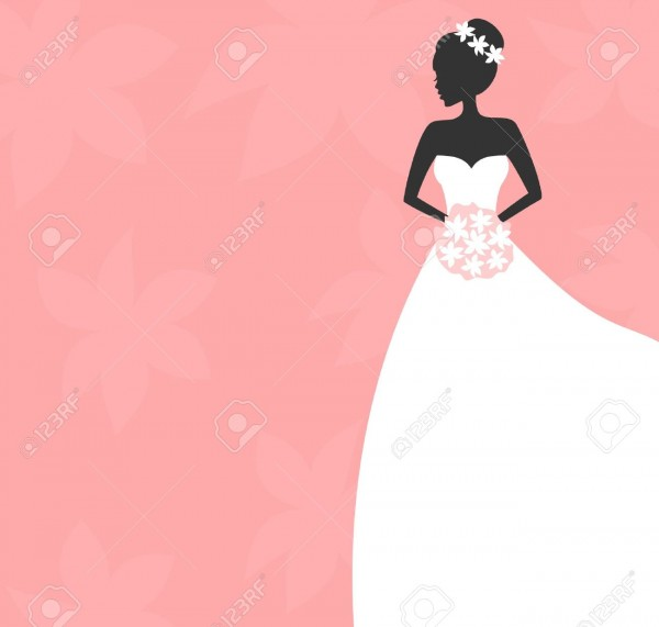 Illustration Of A Beautiful Bride Holding A Bouquet  Bridal Shower