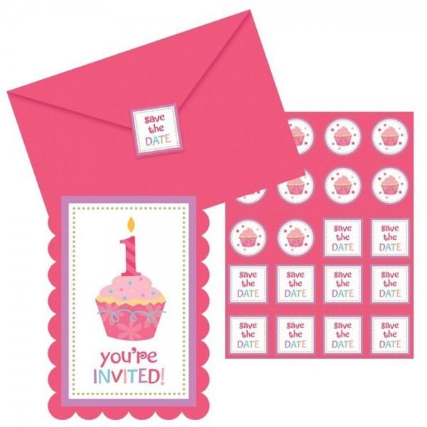 Cupcake First Birthday Girl Invitations