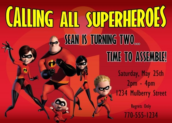 The Incredibles Birthday Invitation Design By Kariannkelly, $15 00