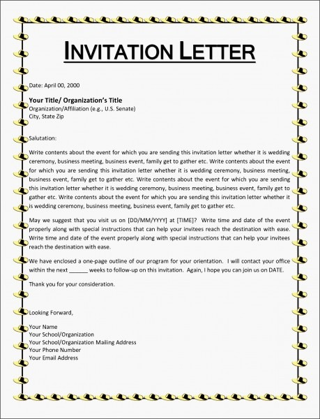 10+ Example Of Invitation Letter