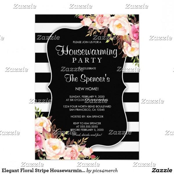 Elegant Floral Stripe Housewarming Invitation