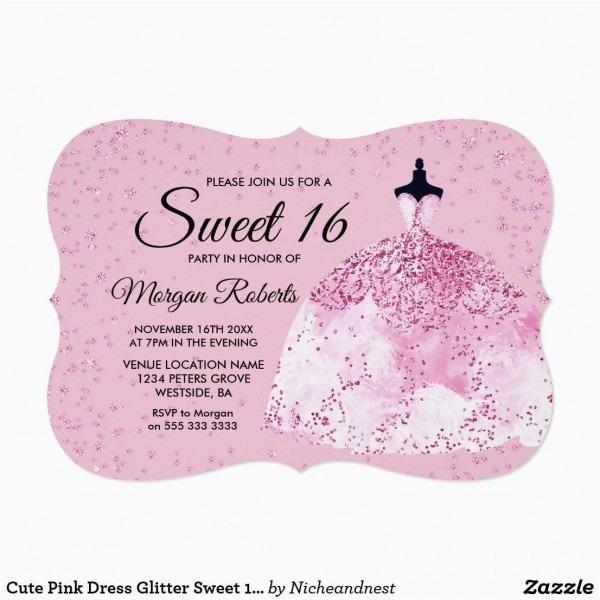 Sweet Sixteen Invitations Model Cute Pink Dress Glitter Sweet 16