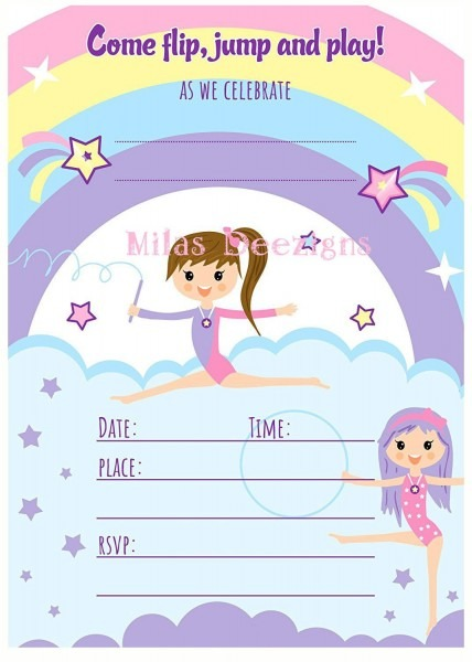 Gymnastic Invitation, Gymnastics Birthday Invite