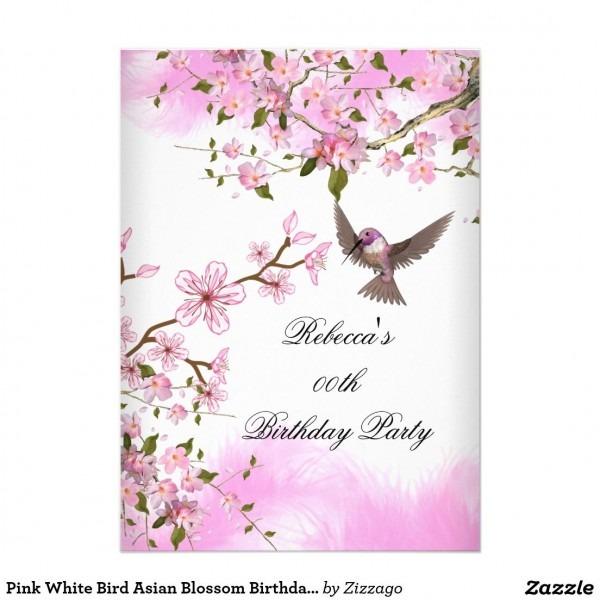 Pink White Bird Asian Blossom Birthday Party 5x7 Paper Invitation