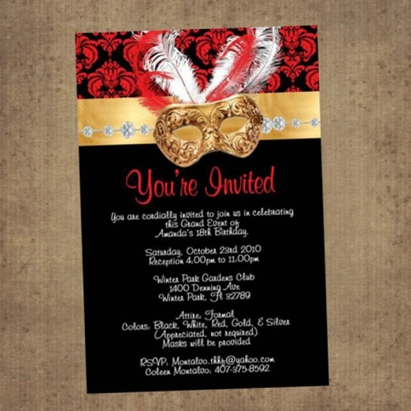 Red & Black Masquerade Invitations