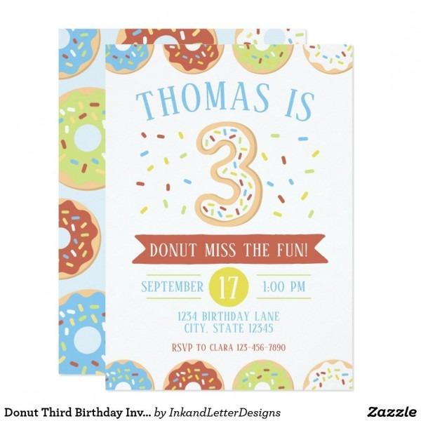 Donut Third Birthday Invitation