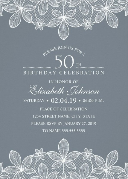 Elegant Lace 50th Birthday Invitations