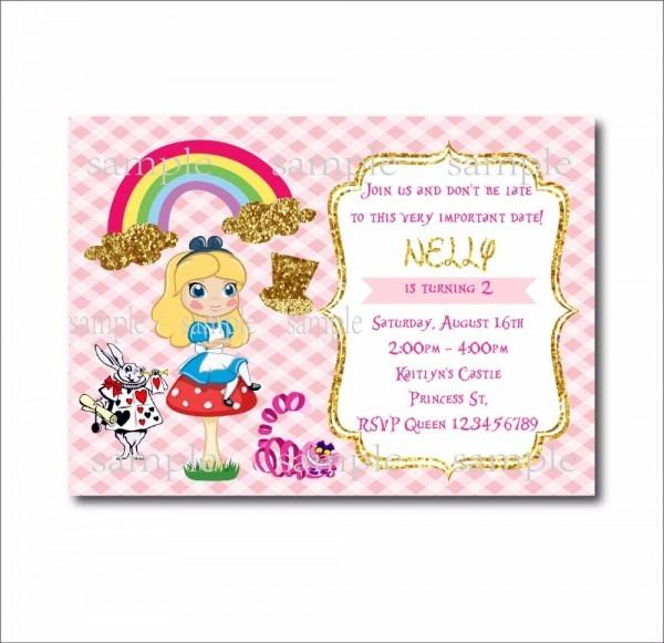 20 Pcs Lot Alice In Wonderland Custom Party Invites Vintage