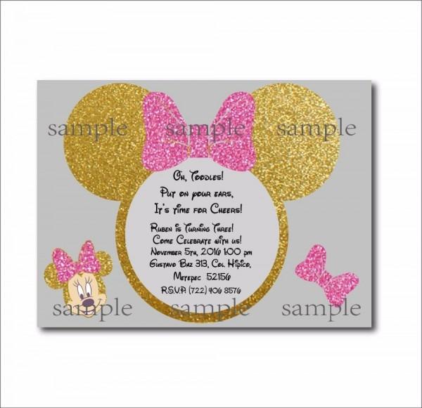 20 Pcs Lot Minnie Mouse Gold Glitter Custom Party Invites Minnie