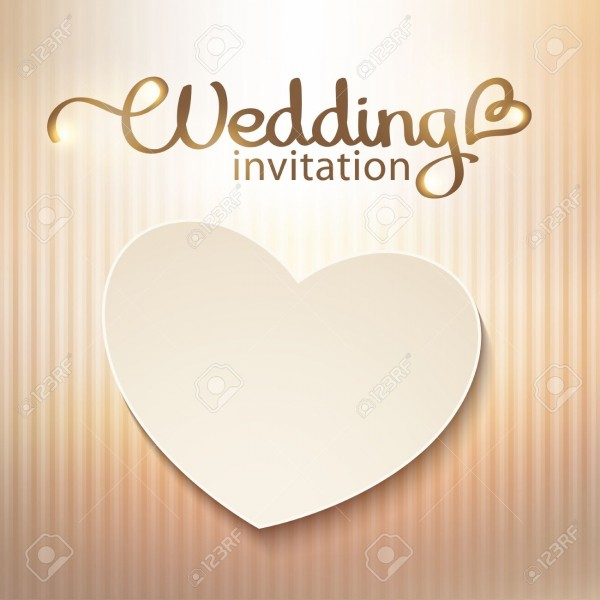 Wedding Invitation With Paper Heart And Gold Background Royalty