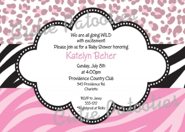Leopard Print Invitation Zebra Print By Cutiestiedyeboutique