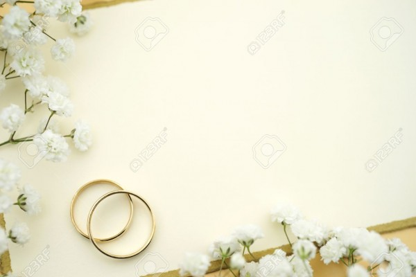 Wedding Invite Blank Card With Gold Rings And Flowers Stock Photo