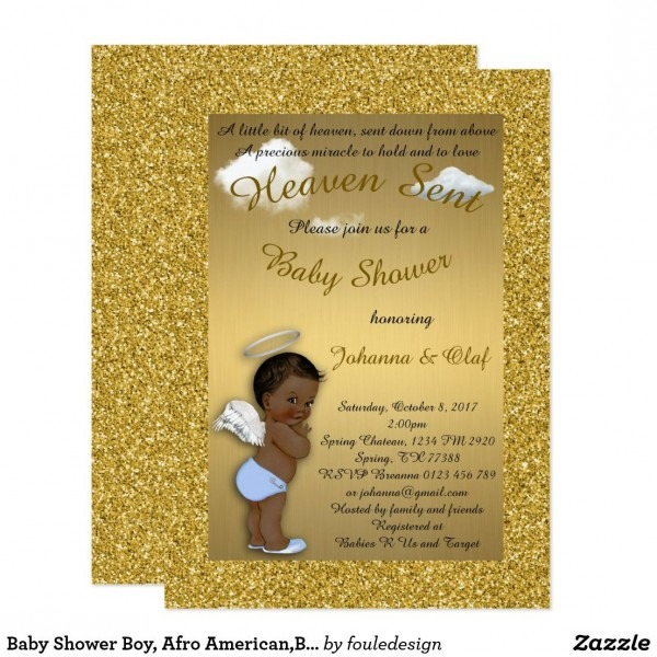 Baby Shower Boy, Afro American,baby Angel,gold Invitation