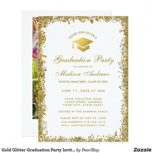 Gold Glitter Graduation Party Invite W Photo Back In 2018