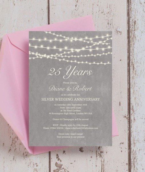 25th Wedding Anniversary Invitations Luxury Grey Fairy Lights 25th