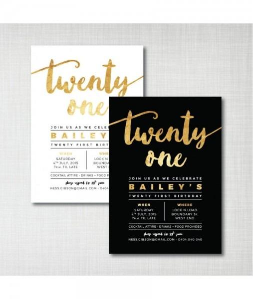 21st Birthday Invitations Designs