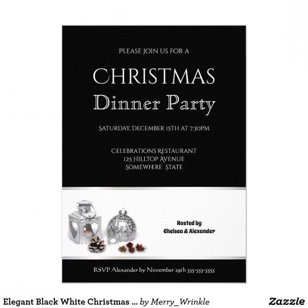 Elegant Black White Christmas Dinner Party Invitation