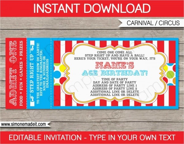 Prom Ticket Template Gallery Carnival Ticket Wedding Invitations