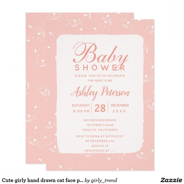 Cute Girly Hand Drawn Cat Face Pink Baby Shower Invitation