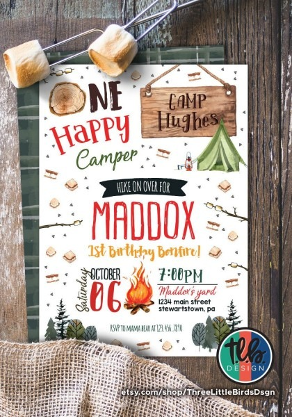 One Happy Camper First Birthday Invitation Bonfire Birthday Invite