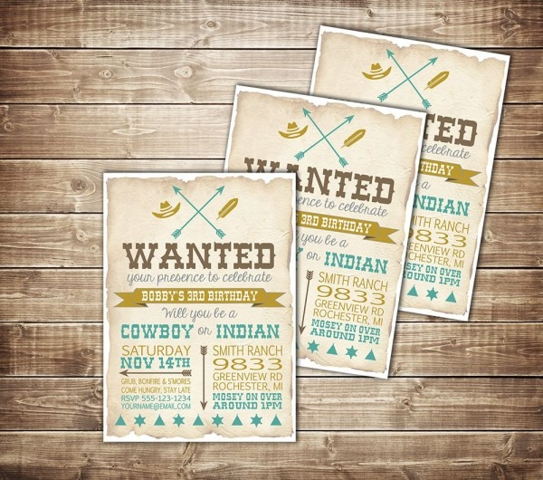 Cowboy And Indian Birthday Party Invitation  Www Etsy Com Shop