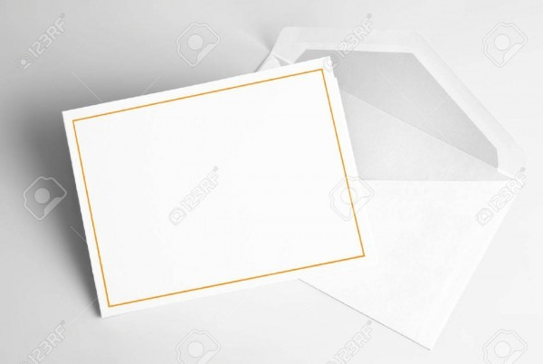 Blank Invitation Card And Envelope Stock Photo, Picture And