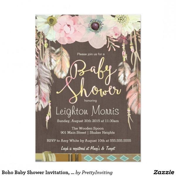 Boho Baby Shower Invitation, Tribal Feather Rustic Card Bohemian