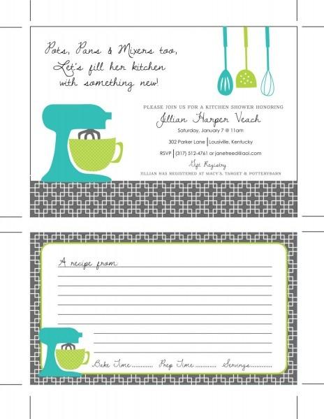 Printable Kitchen Shower Invitations, Bridal Shower Invitations