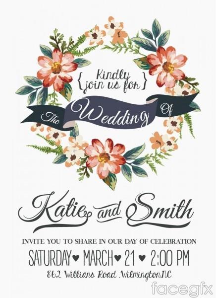 Free Download Watercolor Floral Wedding Invitation Card Vector