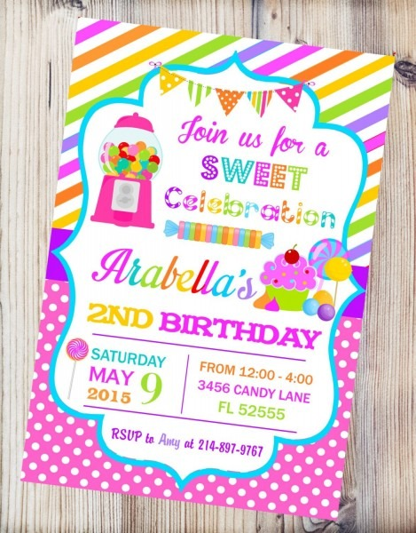 Candyland Printable Invitation, Candy Shop Birthday Invitation