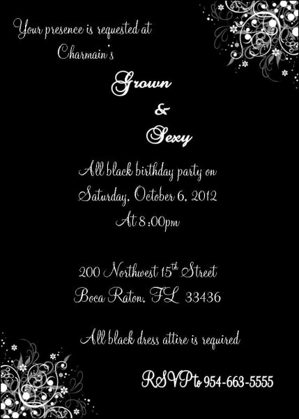 Grown And Sexy All Black Invitation By Js Event Creations, Llc On