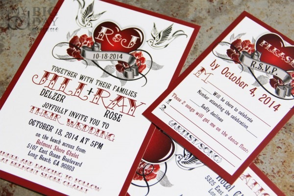 Rockabilly Wedding Invitations,rockabilly Sparrow And Roses