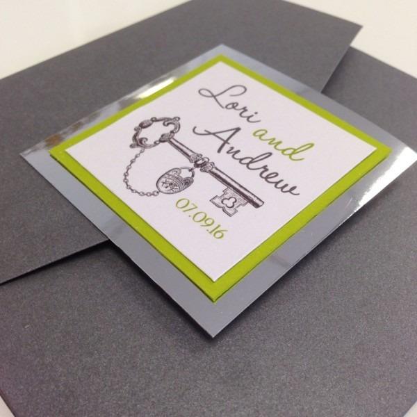 Key Lime Antique Key Themed Pocket Fold Silver Foil Wedding