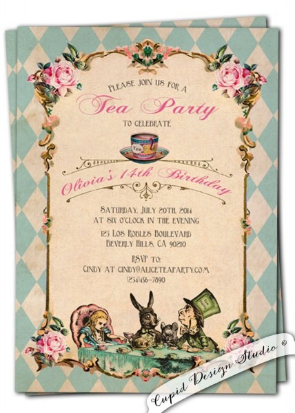 New To Cupiddesigns On Etsy  Alice In Wonderland Invitation Alice