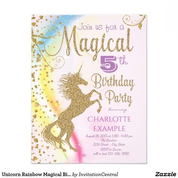 Unicorn Rainbow Magical Birthday Party Invitations Unicorn