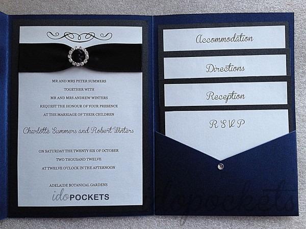 Royal Dark Blue Shimmer Wedding Invitations Diy Pocket Fold