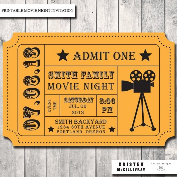Movie Night Party Invitation, Admission Ticket, Ticket Invitation