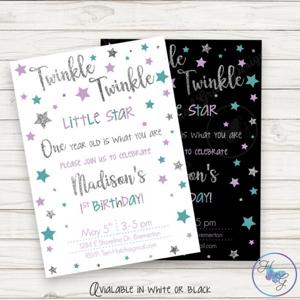 Twinkle Twinkle Little Star First Birthday Invitation, Twinkle