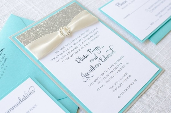 Rhinestone, Aqua   Turquoise, Silver Glitter, And Satin Ribbon