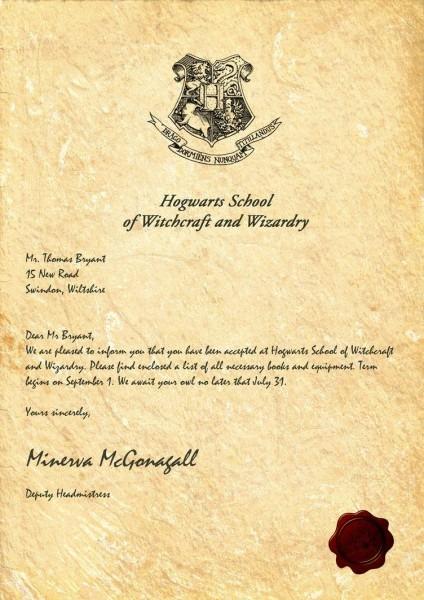 Hogwarts Acceptance Letter By Legiondesign