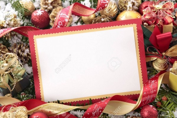 Blank Christmas Card Or Invitation With Red Envelope Surrounded