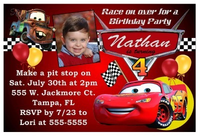 Cars Party Invitation