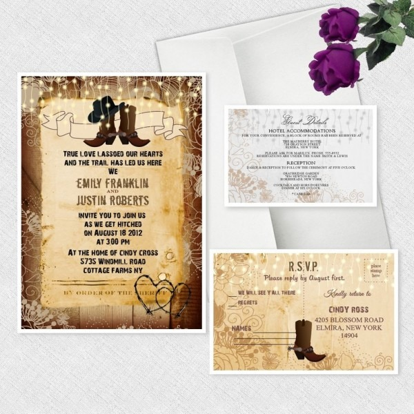 Western Wedding Invitations Cowboy Cowgirl Bridal Shower