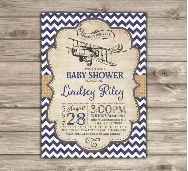 Airplane Baby Shower Invitations Vintage Airplane Navy Chevron Boy