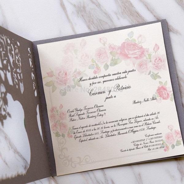 50pcs Custom Love Story Tree Wedding Invitation, Laser Cut Elegant